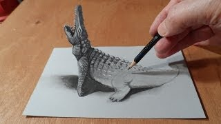 getlinkyoutube.com-Trick Art Drawing 3D Crocodile, Visual Illusion