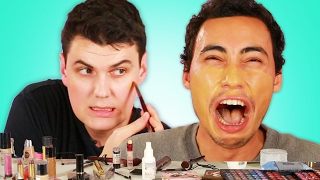 "getlinkyoutube.com-Men Try The ""No Makeup"" Look"