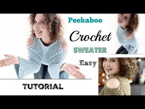 Easy cold shoulders/Peekaboo Crochet Sweater Tutorial