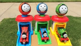 getlinkyoutube.com-Thomas and Friends Toy Trains Percy James Disney Cars Lightning McQueen Thomas y sus Amigos