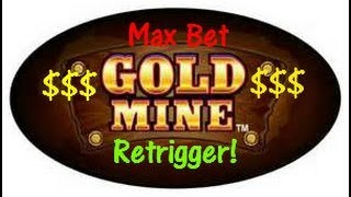 getlinkyoutube.com-Gold Mine-Bally Slot Machine Bonus with Retrigger!