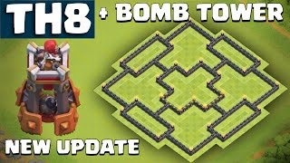 NEW TH8 Farming Base WITH BOMB TOWER UPDATE - Clash of Clans