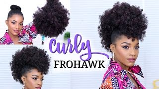 getlinkyoutube.com-Faux Hawk Using a Drawstring Ponytail | How to Do a Curly Frohawk