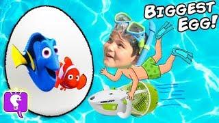getlinkyoutube.com-World's BIGGEST SWIM Surprise Egg! Underwater SeaDoo + Finding Dory Disney Toys Family Fun HobbyKids