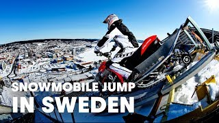 getlinkyoutube.com-220ft Snowmobile Jump in Sweden - Daniel Bodin 2013