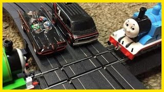 getlinkyoutube.com-BATMAN and A-TEAM vs PERCY and THOMAS the TANK ENGINE Trains & Slot Cars