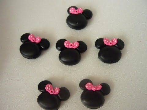 apliques de minnie mouse en porcelanicron   o masa flexible