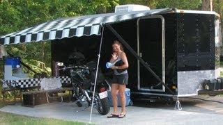 getlinkyoutube.com-Enclosed Trailer converted to camper gets new bed.