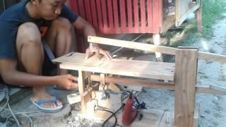 getlinkyoutube.com-Gergaji triplek tenaga mesin bor/ Scroll saw drill powered (DIY)