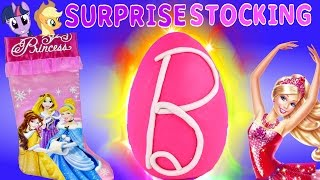 getlinkyoutube.com-SURPRISE Toy Stocking Disney Princess Giant Barbie Play Doh Egg Frozen MLP Christmas