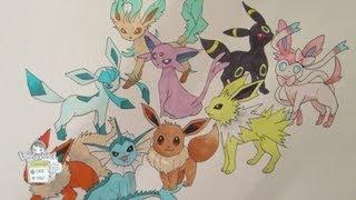 getlinkyoutube.com-How to draw Pokemon: No. 133 Eevee and all its evolutions (REMAKE)