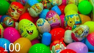 getlinkyoutube.com-100 huevos sorpresa Disney CARS MARVEL SpiderMan THOMAS Bob Esponja Kinder Angry Birds