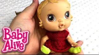 getlinkyoutube.com-Baby Alive Cribs Life Lily Sweet Duck Tape Doll Cradle and Crochet Dress