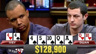 Phil Ivey FLOPS SET On Tom Dwan In $128,900 Pot!