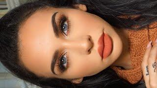 getlinkyoutube.com-GRWM: MATTE ORANGE Fall Makeup | Carli Bybel