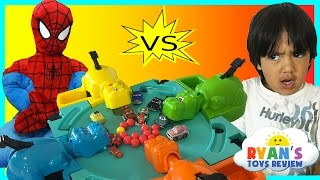 getlinkyoutube.com-Hungry Hungry Hippo eats Disney Cars Micro Drifters Family Fun Game Surprise Egg toys Spiderman