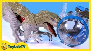 getlinkyoutube.com-Jurassic World Toys Indominus Rex vs Ankylosaurus Play Set & Play Doh Surprise Dinosaur Eggs
