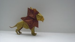 getlinkyoutube.com-Origami Lion (Beth Johnson) Time lapse (No Tutorial)