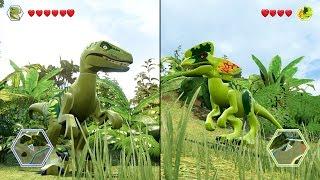 getlinkyoutube.com-Velociraptor(Charlie) vs Dilophosaurus (BATTLE) - LEGO Jurassic World
