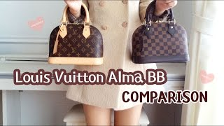 getlinkyoutube.com-Louis Vuitton Alma BB Damier Ebene VS Monogram Comparison Review