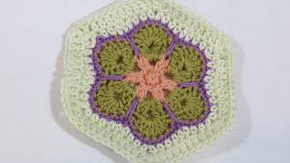 getlinkyoutube.com-كروشيه مضلع الوردة الإفريقية السداسي | Crochet African Flower Hexagon