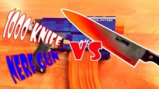 getlinkyoutube.com-[EXPERIMENT] Glowing 1000 Degree Knife VS Nerf Gun