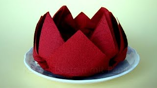 getlinkyoutube.com-Servietten falten Rose / Lotus / Blume - Einfache DIY Origami Blumen Deko basteln - Origami Rose