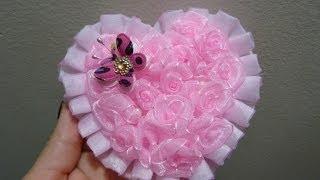 getlinkyoutube.com-Corazón de flores  miniatura  rococo de listón de organza para el cabello,# 219