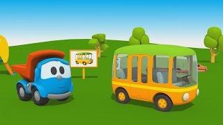 getlinkyoutube.com-Cartoni Animati per Bambini - Camioncino Leo Junior: come si fa un autobus?