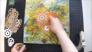 Mixed Media Art Canvas Collage Tutorial - Industrial Heart