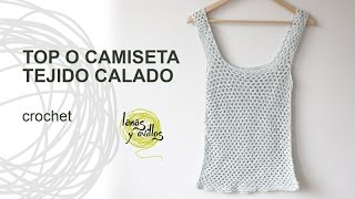 getlinkyoutube.com-Tutorial Top o Camiseta de Verano Calada a Crochet o Ganchillo