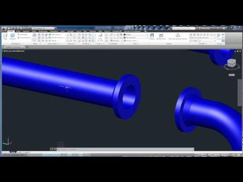 Montagem industrial de tubos e flanges ( 18 e 24 polegada ) em 3 D