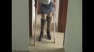 getlinkyoutube.com-Polio Leg Brace Donnas cold shower on a hot day