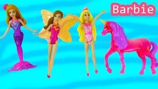 getlinkyoutube.com-Barbie Mermaid Princess Unicorn Fairy And The Secret Door Playset Mini Dolls Water Toys