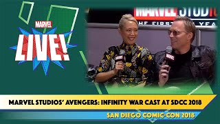 Paul Bettany & Pom Kelemtieff of Marvel Studios' Avengers: Infinity War Cast at SDCC 2018 width=