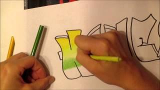 getlinkyoutube.com-Color pencil blending Graffiti Name
