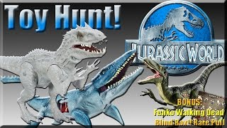 getlinkyoutube.com-Toy Hunt! Jurassic World Indominus Rex, Velociraptor, TRex. Plus Funko Walking Dead Blind Box: RARE!
