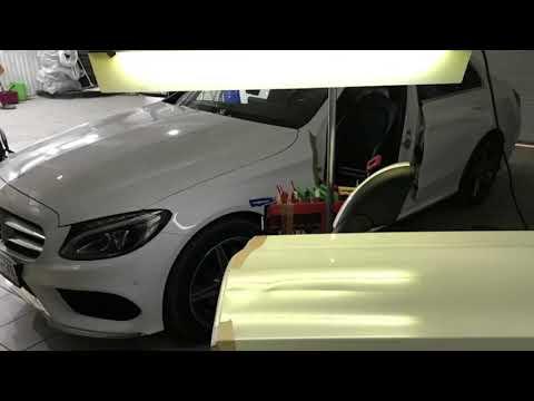 Отзыв удаление вмятин без покраски, водительская дверь Mercedes Benz C-klasse AMG pack.