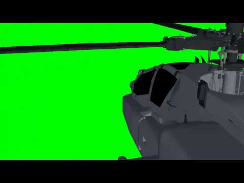 Apache AH-64D Longbow Helicopter - green screen effects