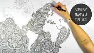 WORLD MAP MANDALA | SPEED DRAWING