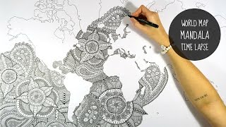 getlinkyoutube.com-WORLD MAP MANDALA | SPEED DRAWING