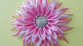 getlinkyoutube.com-DIY Crafts : How to Make Beautiful Kanzashi Satin Ribbon Flower | DIY Girls Hair Accessories