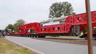 getlinkyoutube.com-Kahl Trafotransport. Der erste Einsatz der 600-Tonnen Seitenträgerbrücke von Greiner-Goldhofer.