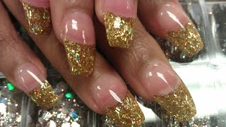 HOW TO COFFIN GOLD GLITTER NAILS PART 3 buff & shine
