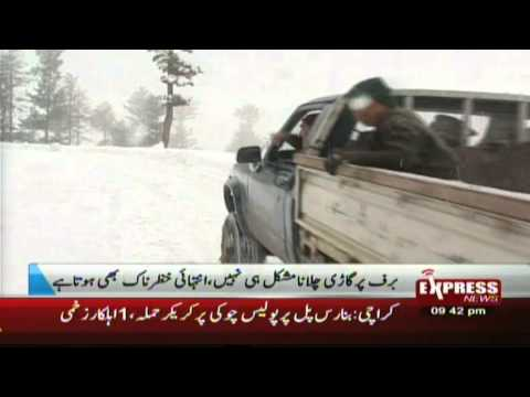 Malam Jabba Snowfall Wheel Chains Tourists enjoy snowfall in Swat valley Pakistan