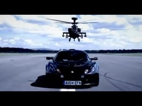 Lotus Exige Car Review with Apache Helicopter Gunship - BBC