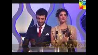 Fawad Khan & Sanam Saeed win Best on screen couple Award for Zindagi Gulzar Hai |HumTV 2014 awards.