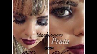 getlinkyoutube.com-Tutorial: Maquiagem Prata para Ano novo e Batom Vinho. Por: Flávia Brito