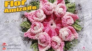 getlinkyoutube.com-Flor da Amizade em Crochê - Coleção Botões de Rosa