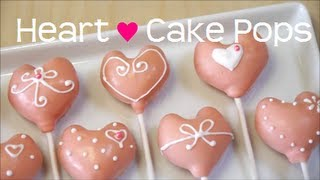 getlinkyoutube.com-Heart-shaped Cake Pops ハート型 ロリポップ ケーキ ポップス Recipe